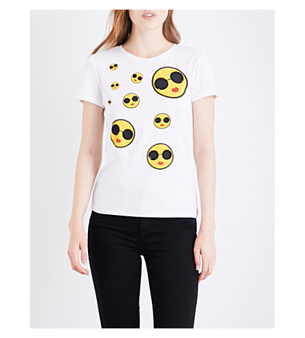 ALICE & OLIVIA Rylyn Smiley cotton-jersey T-shirt (White+multi