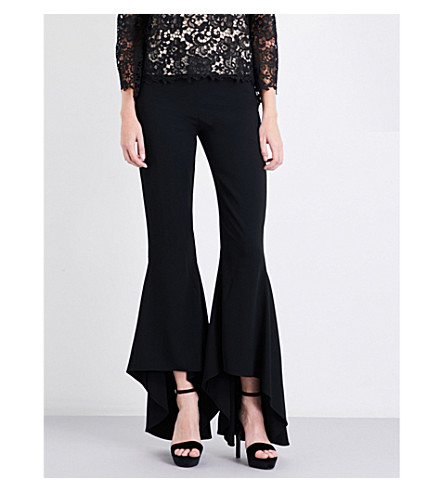 ALICE & OLIVIA Jinny flared crepe trousers (Black