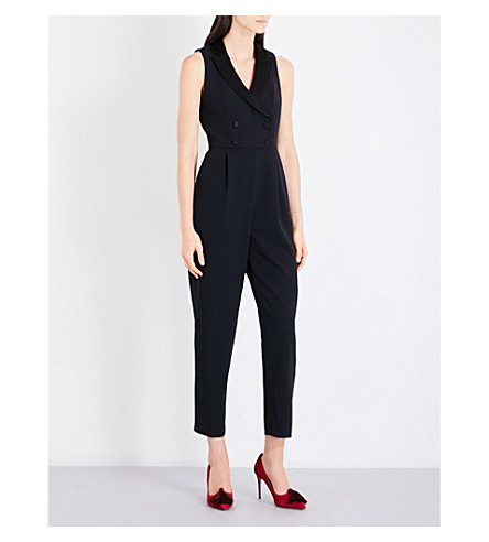 ALICE & OLIVIA Jeri double-breasted crepe jumpsuit (Black
