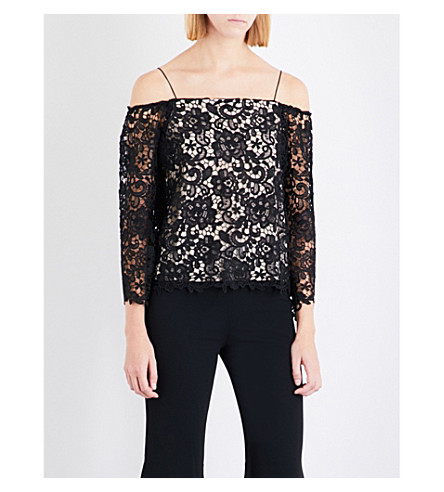 ALICE & OLIVIA Prena off-the-shoulder lace top (Black/sesame