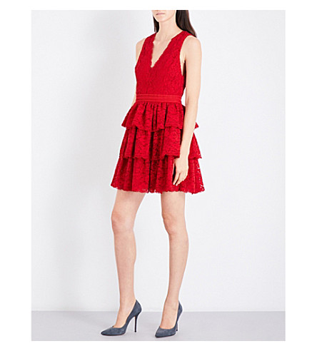 ALICE & OLIVIA Clora tiered lace mini dress (Deep+ruby