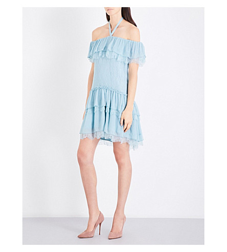 ALICE & OLIVIA Flora tiered chiffon-crepe and lace mini dress (Icy+aqua