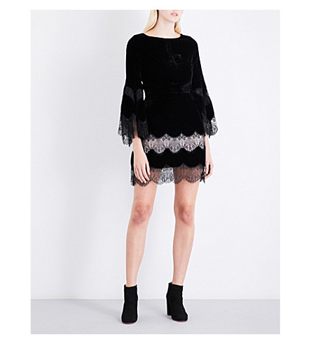ALICE & OLIVIA Leann velvet dress (Black