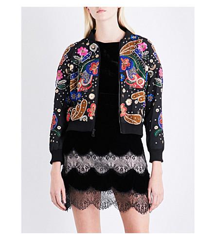 ALICE & OLIVIA Felisa embellished stretch-cotton jacket (Black/multi