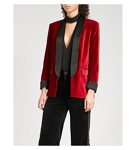 ALICE & OLIVIA Edison velvet tuxedo jacket (Deep+ruby/black