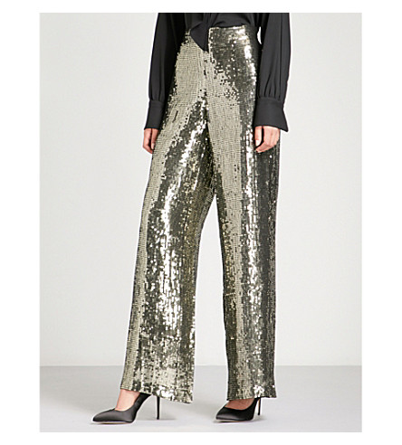 ALICE & OLIVIA Racquel wide-leg sequinned trousers (Gunmetal