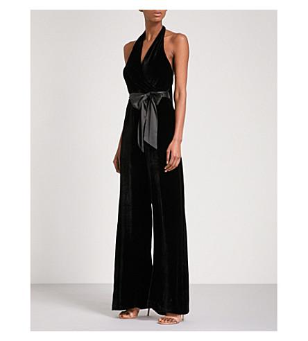 ALICE & OLIVIA Cyprus halterneck velvet jumpsuit (Black