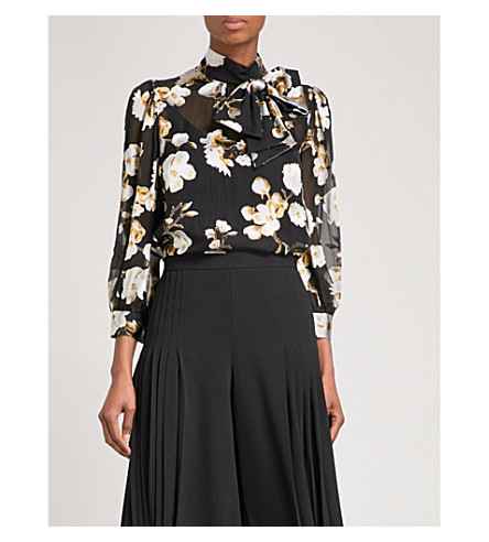 ALICE & OLIVIA Violeta high-neck devoré silk-blend blouse (Holiday+blossom-blk+lg