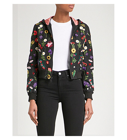 ALICE & OLIVIA Lonnie floral-embroidered silk-satin bomber jacket (Black/multi