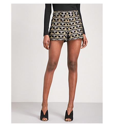 ALICE & OLIVIA Marisa high-rise velvet shorts (Black/gold