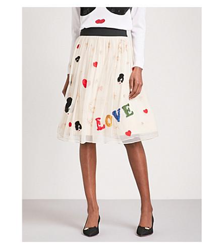 ALICE & OLIVIA Catrina high-rise tulle midi skirt (Nude/multi