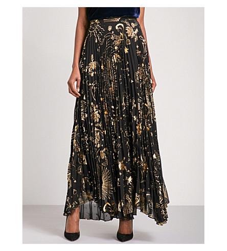 ALICE & OLIVIA Shannon high-rise chiffon skirt (Sun print