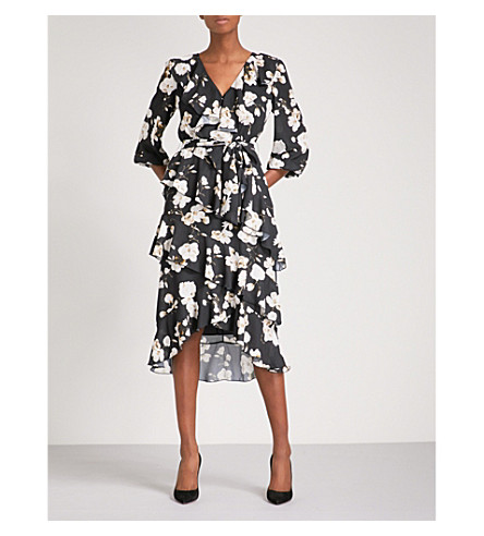 ALICE & OLIVIA Kye self-tie chiffon midi dress (Holiday+blossom-blk+lg