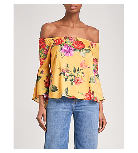 ALICE & OLIVIA Shera off-the-shoulder satin top (Sunflower/multi