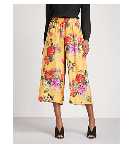 ALICE & OLIVIA Elba wide cropped high-rise satin trousers (Sunflower/multi