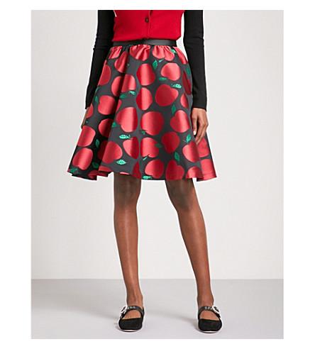 ALICE & OLIVIA Earla high-rise jacquard skirt (Black+/+red