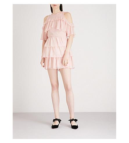 ALICE & OLIVIA Nichola cold-shoulder silk-chiffon mini dress (Blush