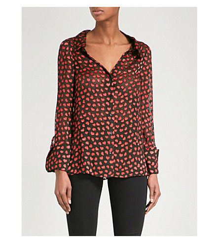 ALICE & OLIVIA Emmerson heart-devoré shirt (Mini+hearts-black