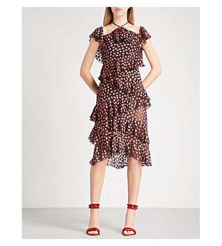 ALICE & OLIVIA Annabeth heart-devoré dress (Mini+hearts-black
