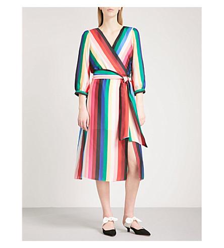 ALICE & OLIVIA Dyanna rainbow-stripe satin midi dress (Rainbow+stripe