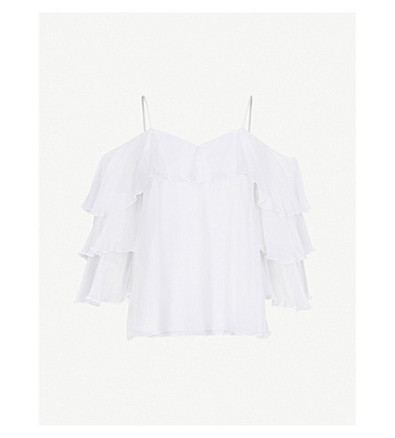 ALICE & OLIVIA Marylee cold-shoulder ruffled woven top (White