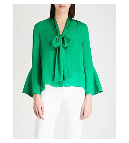 ALICE & OLIVIA Merideth tie-neck silk-chiffon blouse (Bright+juniper