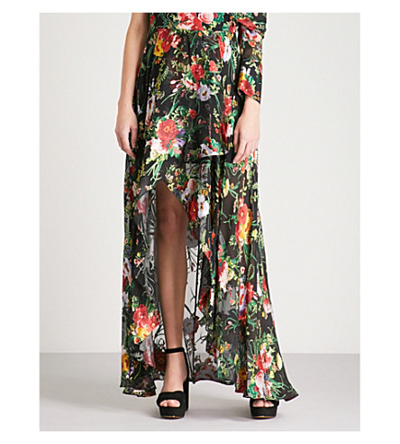 ALICE & OLIVIA Kirstie high cut maxi skirt (Blooming+bouquet
