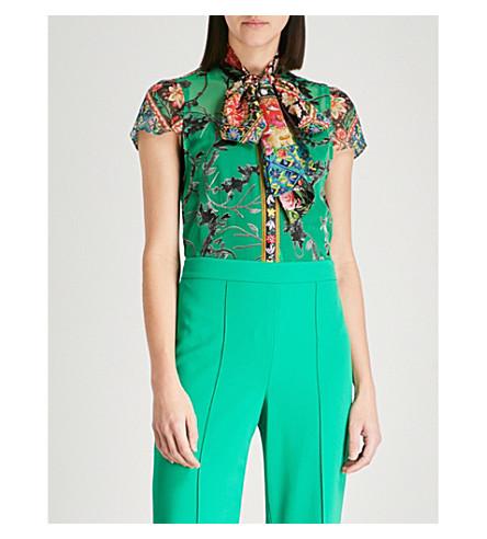 ALICE & OLIVIA Jeannie floral-embroidered devoré silk-blend shirt (Floral+-+bright+juniper