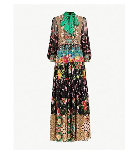 ALICE & OLIVIA Tiered silk maxi dress (Multi
