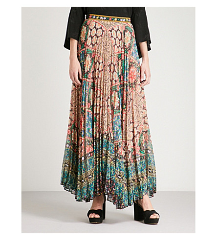 ALICE & OLIVIA Shannon pleated chiffon maxi skirt (Renzo+tile