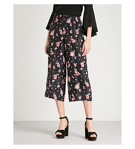 ALICE & OLIVIA Elba wide-leg cropped woven trousers (Cluster+flower-pink