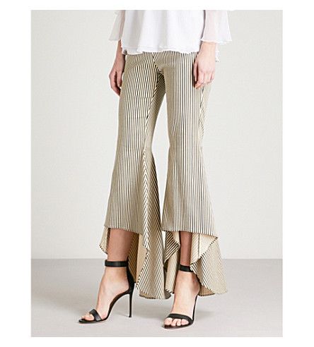 ALICE & OLIVIA Jinny striped flared cotton-blend trousers (Natural/black