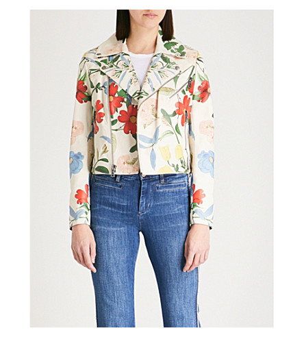 ALICE & OLIVIA Cody floral-print leather jacket (Whimsy+floral