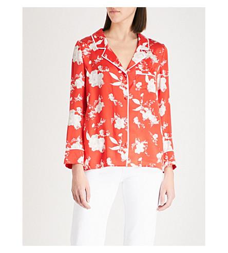 ALICE & OLIVIA Keir piped-trim silk-satin shirt (Floral+damask+-+poppy