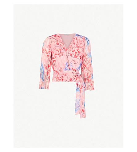 ALICE & OLIVIA Bray pleated sleeve silk-chiffon wrap top (Lola+floral