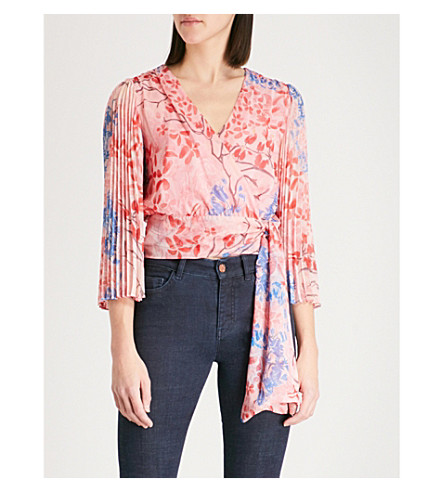 ALICE & OLIVIA Bray pleated sleeve silk-chiffon wrap top (Lola+floral