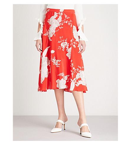 ALICE & OLIVIA Nanette floral-print silk-satin midi skirt (Damask+rose-lg+poppy