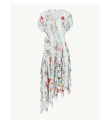 ALICE & OLIVIA Kadence lace and floral print dress (Floral+soiree-dusty+aqua