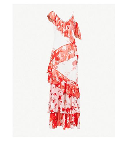 ALICE & OLIVIA Olympia asymmetric maxi dress (Damask+rose-lg+sft+white
