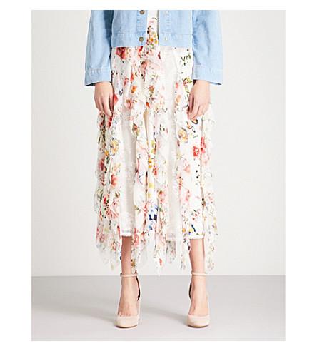 ALICE & OLIVIA Yula floral-print silk-chiffon midi skirt (Floral+soiree-soft+white