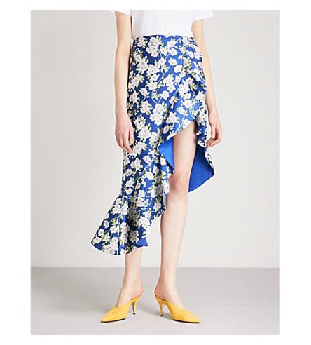 ALICE & OLIVIA Lovetta ruffled woven midi skirt (Indigo/white