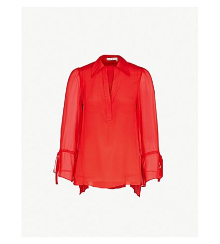 ALICE & OLIVIA杰拉尔丁丝绸-雪纺衬衫 (完美 + 罂粟