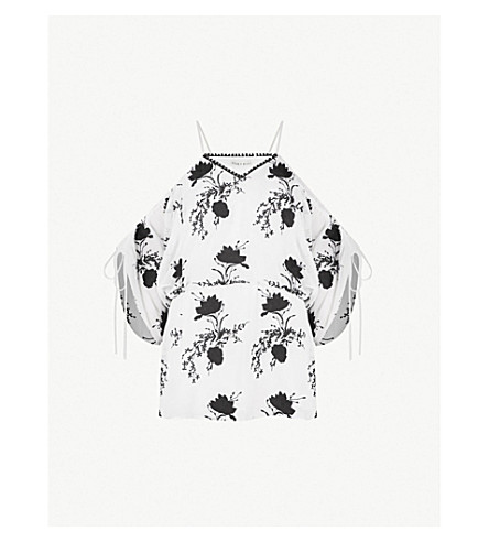 ALICE & OLIVIA Holden cold-shoulder embroidered chiffon top (Off white black