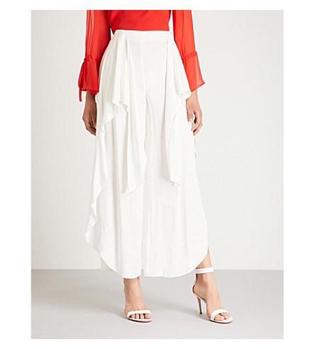 ALICE & OLIVIA拉里萨宽腿高级绉裤 (Off + 白色