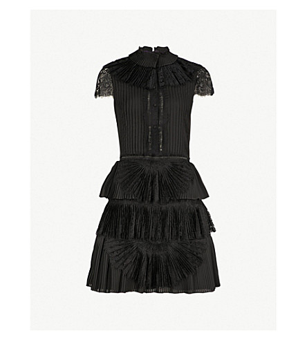 ALICE & OLIVIA Rosetta lace-panelled pleated chiffon mini dress (Black