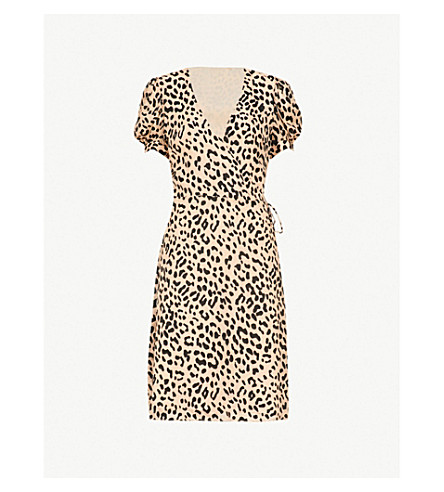 ALICE & OLIVIA Rosette leopard-print devoré mini wrap dress (Leopard-sand