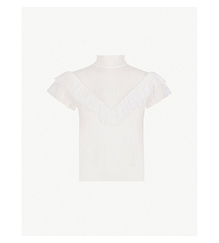 ALICE & OLIVIA Beth lace and stretch-wool top (Soft+white