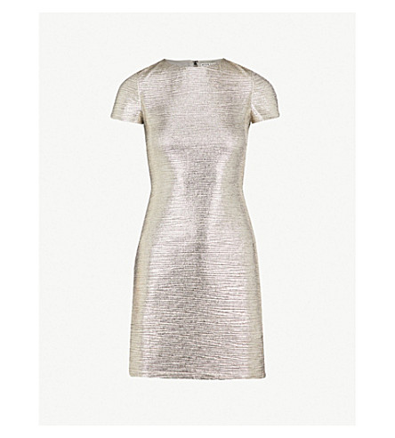 ALICE & OLIVIA Delora metallic woven midi dress (Silver+foil