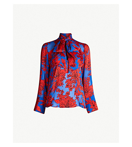 ALICE & OLIVIA Gwenda pussy-bow floral-print crepe blouse (Fancy flrl