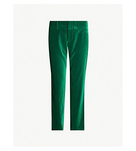 ALICE & OLIVIA Stacey high-rise velvet tapered trousers (Juniper